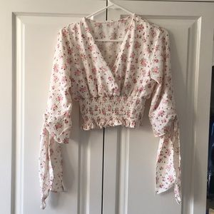 Shein Floral Shirred Crop Top w/ Bow Sleeves